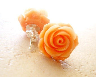 SALE Apricot Nectar Coral Rose Earrings, Peach Stud Earrings, Coral Colored Jewelry Retro Jewelry Peach Earrings Cottage Earrings The Rosie