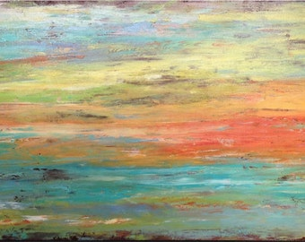 Original Large Abstract painting - 24 X 48  Artist JMJartstudio-  New Choices -Wall art - Orange painting-Oil painting