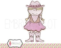 Cowgirl machine embroidery design. Cowgirl embroidery design. Cute ranch embroidery for western themed projects. Country embroidery.