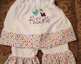Custom-made embroider butterfly kisses pillowcase two piece summerloons dress set