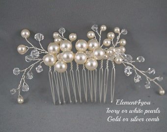Bridal comb, Ivory pearls hair piece, Wedding hair accessories, White pearls hair comb, Flower hair vines, Silver or gold wire, Beaded comb