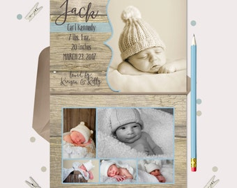 Vintage Wood Baby Boy Birth Announcement · Double sided · 6 photos · printable files