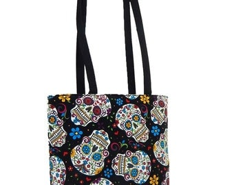 "USA Handmade Shoulder bag With ""Folkoric Sugar Skulls"" Pattern , Black, Cotton, New"