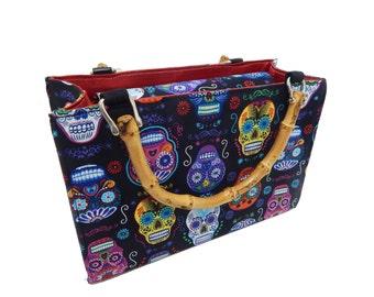"USA Handmade Handbag With Bamboo Handle With ""DE Colores Sugar Skulls"" Pattern Bag Purse, Cotton, New"