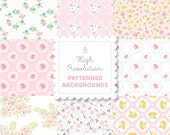 PINK Florals  PATTERNED BACKGROUND set in Bright Pastels for personal and commercial use - digital papers, vintage, retro