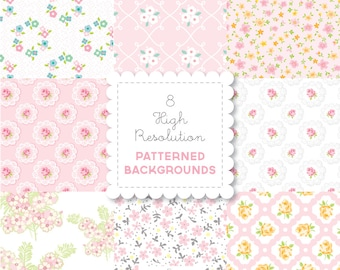 PINK Florals  PATTERNED BACKGROUND set in Bright Pastels for personal - digital papers, vintage, retro