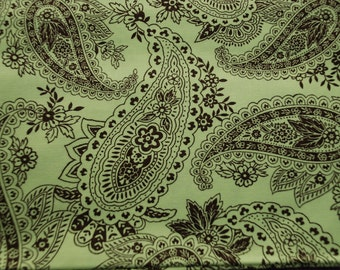 Peggy Paisley by Michael Miller Fabric - quilt cotton lime chocolate - half yard
