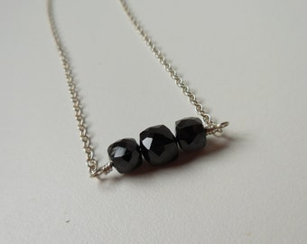 Stacked Gemstone Necklace - Black Spinel Cubes with Sterling Silver Chain