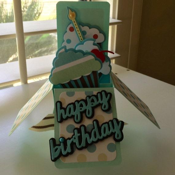 Happy Birthday Cupcakes Teal Purple Red Pop Up Box Handmade