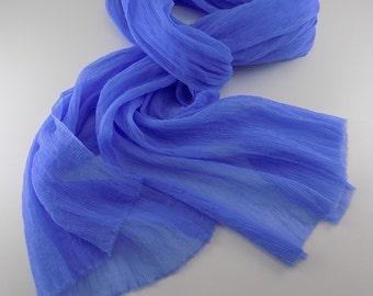 Handmade Silk Scarf --- Periwinkle
