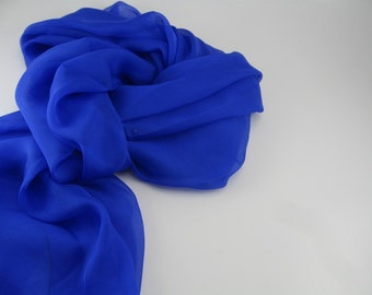 Silk Chiffon Scarf --- Royal Blue