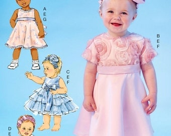 Infant Ruffle Dress Pattern, Baby Dress Pattern, Toddlers' Special Occasion Dress Pattern, Sz Nb to Xlg, McCall's Sewing Pattern 7037