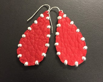 Studded Red Leather Earrings