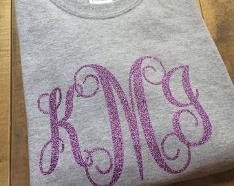 Glitter Monogram Short Sleeve Tee |Sparkle monogram | monogram tshirt | Short Sleeve Monogram
