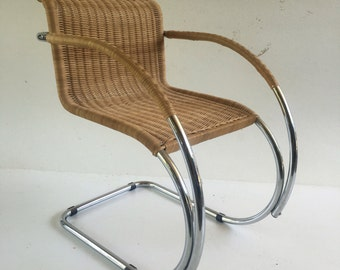 Mies Van Der Rohe Mr 20 Chair Chrome And Rattan Mid Century
