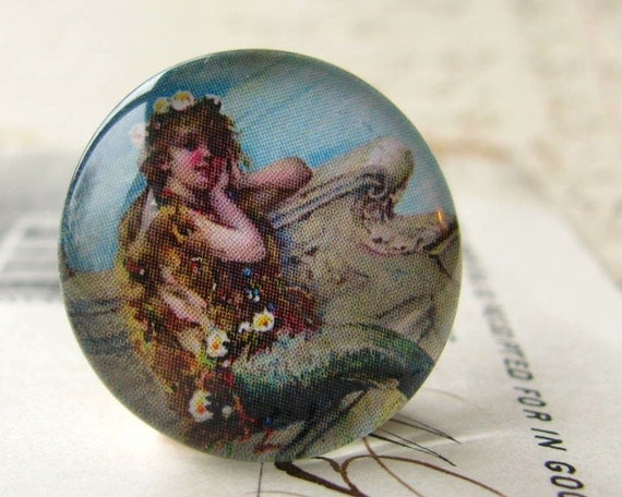 "Vintage 1930s advertisement ""Mermaid Bath Salts"", ocean lore, nautical legend, handmade glass cabochon, round 22mm cabochon, flat back image"