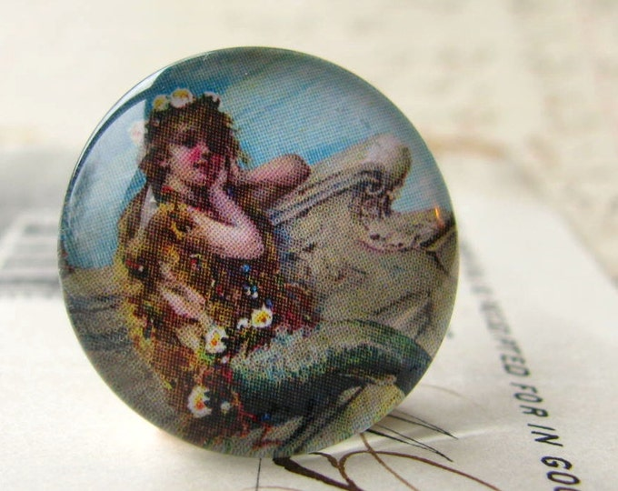 "Vintage 1930s advertisement ""Mermaid Bath Salts"", ocean lore, nautical legend (2 handmade glass cabochons) round 22mm cabochon, flat back"