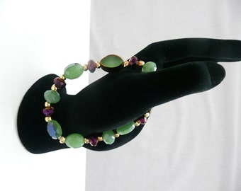 Green, Purple, and Gold Stretch Bracelet - small