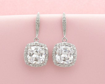 Square Crystal Wedding Earrings Bridal Jewelry Square Cubic Zirconia Silver Dangle Earrings Wedding Jewelry Drop Bridal Earrings, Riley
