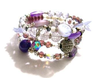 Handmade Purple Crystal Memory Wire Bracelet, Purple Statement Bracelet, OOAK, VisionsOfOlde