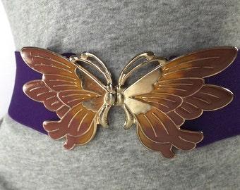 vintage 80s purple stretch belt butterfly buckle elastic enamel small medium women mauve pink mustard yellow retro fashion accessories waist