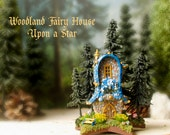 Woodland Fairy House Upon a Star - Miniature Colorful Round Fae Cottage with Rounded Roof, Spruce Trees, Flower Boxes & Fairy Mushrooms