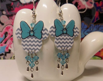 Minnie Mouse Turquoise Blue Chevron Dangle Earrings