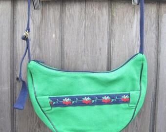 Vintage green cotton purse - cotton canvas hobo-style handbag - Banner House bag - made in NC - summer bag - strawberry bag - preppy bag