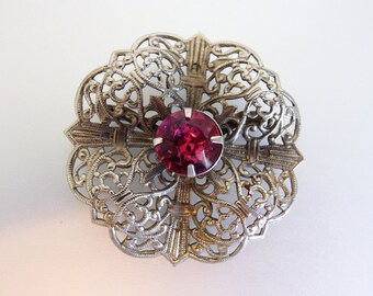Pretty Vintage Silver Tin Pink Rhinestone Brooch