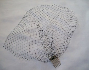 Black Short Birdcage Blusher Russian Veil with Comb - Wedding Gothic Steampunk