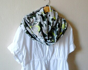 White Floral Infinity Scarf Spring Lightweight Women Accessories Summer Loop Scarf