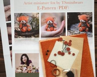 DIY KIT toy Mini fox sewing KIT, step-by-step tutorials, mini toy pattern,  stuffed animals pattern, soft toy sewing kit, teddy bear pattern