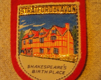 Vintage Stratford on Avon Shakespeares Birth Place ENGLAND  Travel Patch