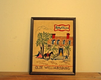 Vintage 60s Handmade Crewel  Embroidered Olde Williamsburg Raleign Tavern Historical Picture Wall Hanging