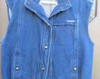 vintage   Gloria Vanderbilt designer denim jeans  vest by Murjani     sz large