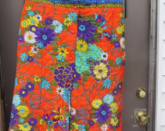 VINTAGE MOD  hippie womens mod flowers  satin  quilted maxi skirt sz 16   new vintage