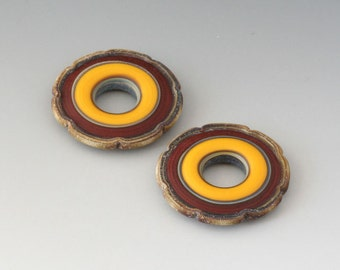 Rustic Ruffle Discs - (2) Handmade Lampwork Beads - Yellow, Brown Red