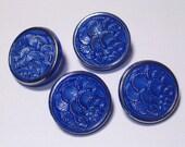 Beautiful Cobalt Blue Vintage Glass Buttons 19mm Set 4 Shank Sewing Buttons Set