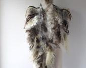 Felted scarf real fur  grey wrap fur scarf Fur stole, Grey wool shawl  Fur collar  by Galafilc