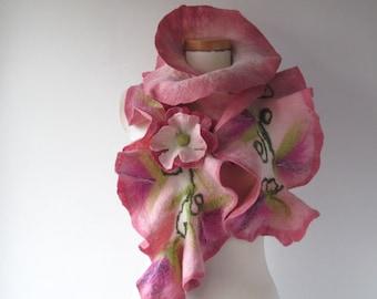 Felted scarf ruffle collar  Pink women scarf  Rose flower scarf Ruffle scarf by Galafilc