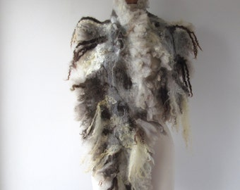 Felted scarf real fur  grey wrap fur scarf Fur stole, Grey wool shawl  Fur collar  by Galafilc