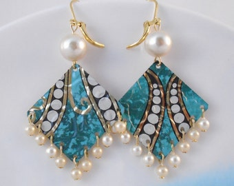 Pearls and Tin Earrings