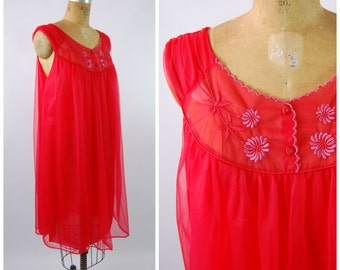 Early 60s Bright Red Nylon Baby Doll - Red Nightgown - Size Large