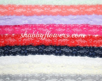 Elastic- Lace Multipack (10 Colors), 1 inch lace elastic, lace for baby headbands, wholesale 1 inch lace elastic