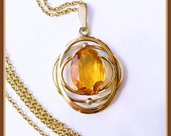 Gold Citrine Necklace, Signed Amerikaner, K & L, Germany, Rolled Gold, Vintage 1920's 1950's