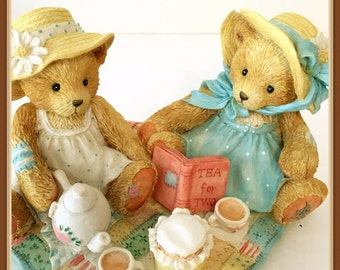 """Cherished Teddies Figurine,  Freda & Tina, """"Our Friendship Is A Perfect Blend"""", Tea for Two, Vintage 1992"""
