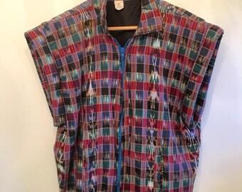 Vintage 70s Guatamelan IKAT Jacket Vest • Cotton Vest • Colorful Vest • Retro Avant Garde