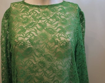 ON SALE vintage. 60s Green MOD Lace Dress //  Tent Dress // Free Size