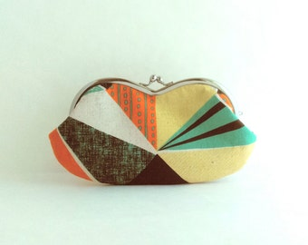 Frame Clutch Purse - Sunglasses Case - Orange Patchwork Canvas