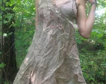 Troll maiden mushroom dyed silk dress